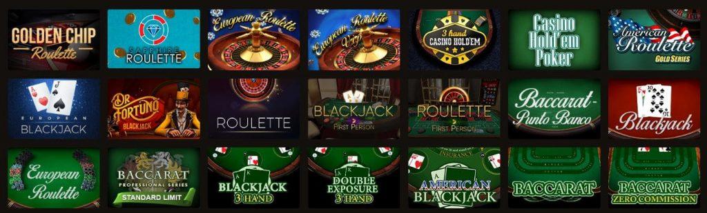 В казино Фортуна Плей большой выбор настольных игр